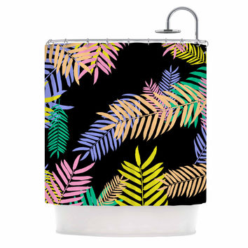 "Vasare Nar ""Tropical Palm 90s"" Black Multicolor Art Deco Floral Shower Curtain"