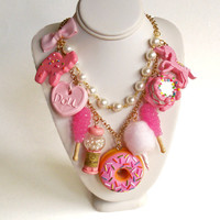Pink Candy Necklace, Pink Charm Statement Necklace, Pink Donut Pendant, Rock Candy Charm, Cotton Candy, Pastel Goth, Kawaii Food Jewelry