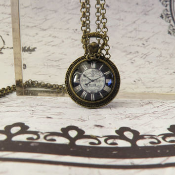 Antique Look Clock Necklace 30 inch w/ Antique Rolo Chain