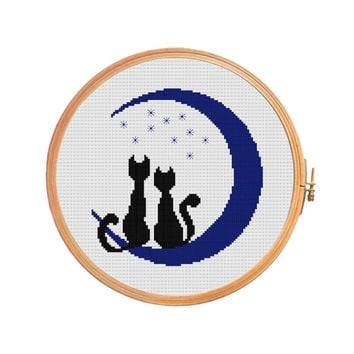Cats in love on the moon at night - Cross stitch pattern - valentine's gift under light of moon wedding cross stitch personalized gift blue