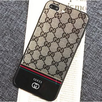 Gucci simple letters couple iphoneX phone shell Iphone 7 / 8plus tempered glass shell