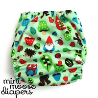Woodland gnomes diaper, bamboo velour, baby shower gift, woodland baby, pocket cloth diaper, ai2 cloth diaper, mushroom baby, hedgehog