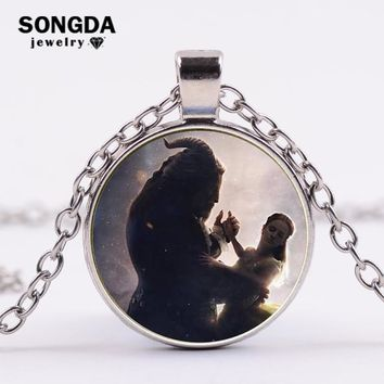 SONGDA Beauty and the Beast Film Souvenir Necklace Jewelry Prince Princess Love Fairy Tale Glass Cabochon Pendant Chain Necklace