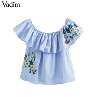 Vadim women sweet ruffles floral embroidery striped shirts off shoulder slash neck blouse summer cute casual tops blusas DT1142