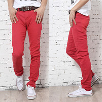 Multi Colors Mens Slim Fit Demin Pencil Pants Skinny Stretch Jeans Pant Trousers