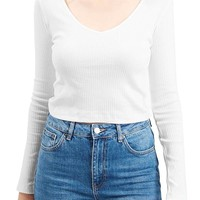 Topshop V-Neck Crop Sweater | Nordstrom