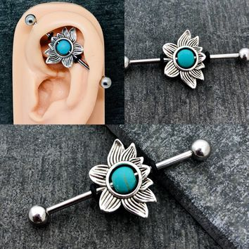 Lotus flower turquoise bead Industrial/Scaffold barbell 14, 16 gauge stainless steel body jewelry