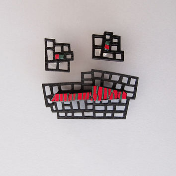 One of a kind designer jewelry set - brooch&earrings, contemporary jewelry, unique, laser cut wood, polymer clay, steel, handmade, Free ship