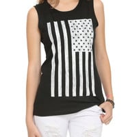 Distressed American Flag Girls Muscle Top