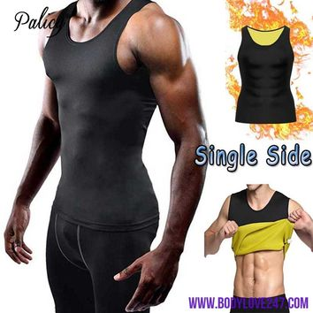 Palicy S-5XL Compression Sliming Men's Vest Neoprene T-shirt Fat Burn Shaper Sauna Sweat Body Shaper Top Tank Fajas Plus size
