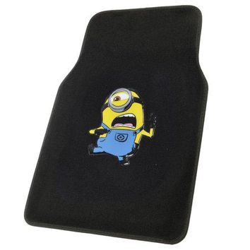 BDK Despicable Me Car Floor Mats-Minion Stuart Kicking 4-Piece Auto Floor Mats, Front Rear Full Set, Universal Fit