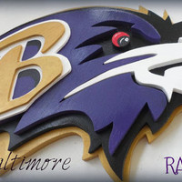 Large Custom 3D Baltimore RAVENS  Football SIGN Logo Wooden  Plaque 24x12  Layered Wood Wall