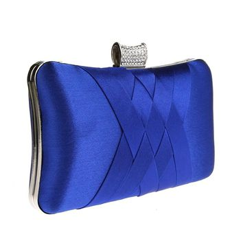 2017 Women Diamonds Evening Hand Bag Blue Clutch Bags Bride Wedding Party Chain Purse Small Handbag Ladies Clutches Bags