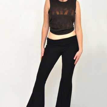 Foldover Waistband Bell Bottoms - Low Cut Flare Leg Pants - Hiphugger Bellbottoms - Yoga Pants - Cotton Extra Long Flares - XS, S, M, L, XL
