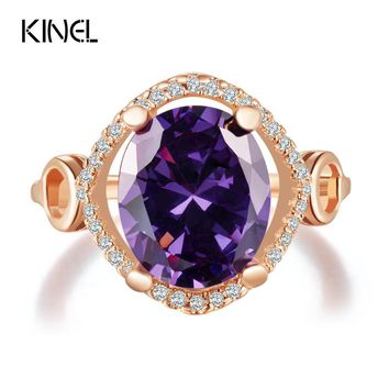 Kinel Fashion Vintage Big Purple Zircon Ring Round Rose Gold Wedding Rings For Women Engagement Accessories Cristal Gift