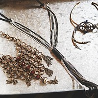 Lisa Freede Womens Chain & Leather Necklace