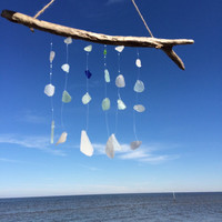 Sea Glass Wind Chime Blue Colors medium driftwoodsun catcher beach decor driftwood texas gulf coast colors beach glass beach house