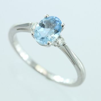 Aquamarine and Diamond 14kt Ring