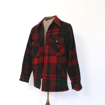 Vintage Mens 1970s Woolrich Wool Shirt CPO Jacket Red Green Plaid Coat Lumberjack Hunting Button Up Winter Coat Rugged Mountain Ski Coat