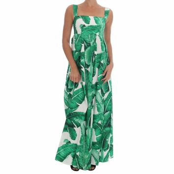 Dolce & Gabbana Banana Leaf Cotton Long Dress