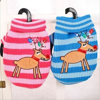 Hot Sale Elk Pet Dog Sweater Autumn and Winter Striped Knit Dog Round Collar Sweater Blue&Pink Dog Cat Costume Free Shipping