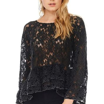 Bell Sleeves Sheer Lace Blouse