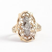 Vintage Filigree Ring - 14k Yellow & White Gold Diamond Shield Jewelry - Art Deco 1930s Size 5 1/2 Fine Statement Floral Embossed Open Metal