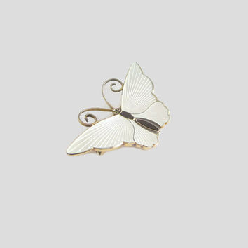 "Butterfly Pin, White Enamel David-Andersen, Norway Sterling Brooch, Vintage, Basse-Taille, D-A, 1 3/4"" x 1"""