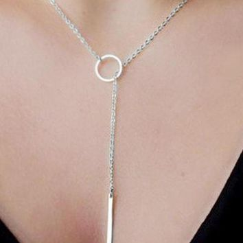 Women's Circle Lariat Style Silver Tone Infinity Necklace