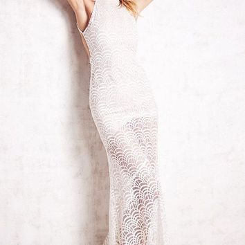 White Lacy Fish Scale Open Back Evening Dress