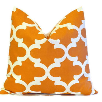 Orange Pillow Cover.Throw Pillows.ONE pillow cover.Fynn Quatrefoil.Cushion Cover.Decorator Pillow.18x18 inch.Moroccan ALL SIZES 46 cm