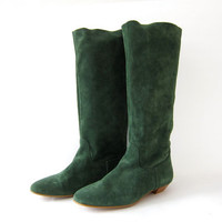Vintage green leather boots. Tall suede boots. Slouchy Suede Boots. Boho Boots.