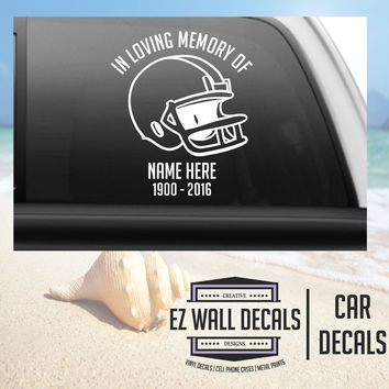 In Loving Memory Football Helmet Car Window Windshield Lettering Decal Sticker Decals Stickers