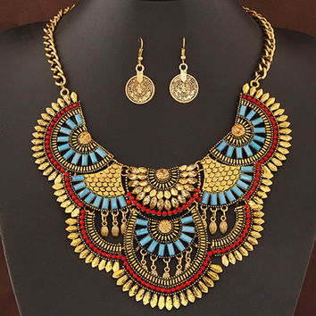 New Fashion African Jewelry Set Statement Fine jewelry sets Colorful Bib Necklace Set For Women Coins Necklace Collares