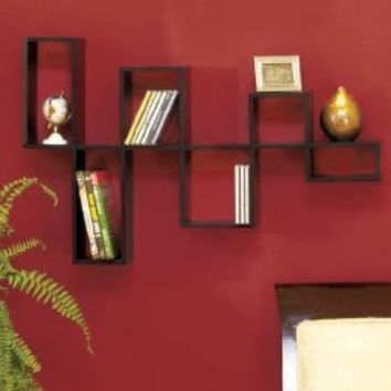 Wooden Black Modular Wall Organizing Shelf Storage Home Decor Accent