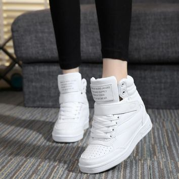 2015 spring autumn ankle boots heels shoes women casual shoes height increased wedges