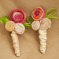 rustic vintage inspired fabric flower boutonniere pink coral cream champagne green straw ribbon accent photo prop groomsmen