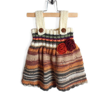 Knitted Girl Tunic Dress - Multicolor, 9 - 12 months