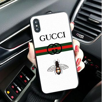 GUCCI Trending Small Bee Letter Print Women Men Simple iPhone Phone Cover Case For iphone X iphone 6 6s 6plus 6s-plus 7 7plus 8 8plus White