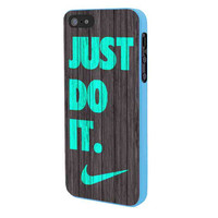 Nike Just Do It Wood Colored Darkwood Wooden Fdl iPhone 5 Case Framed Blue