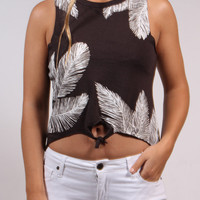 Palm Leaf Tie-Front Muscle Tee