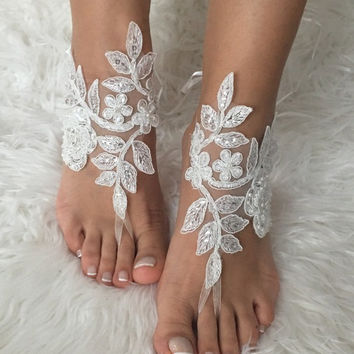 Beach wedding Barefoot sandals , french lace sandals, wedding anklet, ivory lace wedding barefoot sandals, embroidered sandals.