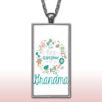 Grandma Pendant Charm Necklace One Awesome Grandma Grandmother Mothers Day Gift Custom Charm Necklace, Silver Plated Jewelry