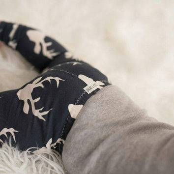 Baby/ Toddler Leggings/ Art Gallery/Deer Antler Print in Navy