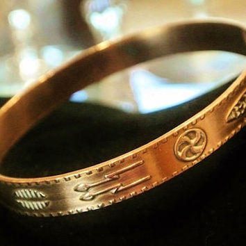 Copper Bangle Bell Trading Company Post Solid Copper Bangle Bracelet Circa 1950s Native American Jewelry Southwestern Tribal Symbols