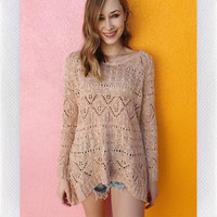 ROSE THORN CHUNKY KNIT- LT PINK
