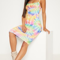 Multi Tie Dye Strappy Midi Dress