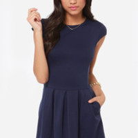 Black Swan Lily Navy Blue Dress