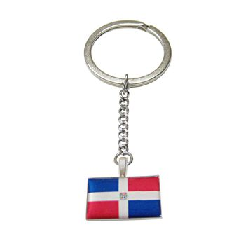 Dominican Republic Flag Pendant Keychain