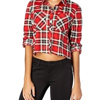 Plaid Cropped Knit Button Down